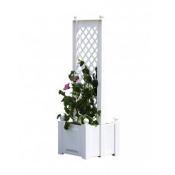 Маленький ящик для садовых цветов KHW 37401 с центральной шпалерой 43 см, белый