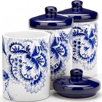Набор банок для сыпучих продуктов Loraine 24819, 3 шт, синие