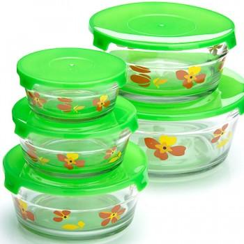 Набор салатников с крышками Loraine 26866, стекло