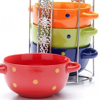 Набор супниц разноцветных Loraine 26529, 4 предмета на подставке