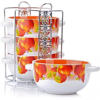 "Набор супниц из керамики Loraine 27583 ""Яблоки"", 4 предмета с подставкой"