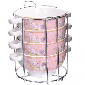 Набор чаш для супа на подставке Loraine 28484, 4 шт.