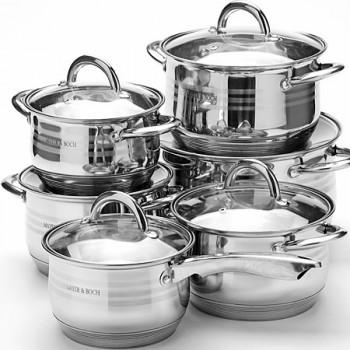 Набор посуды MAYER & BOCH 25155, 12 предметов, нержавеющая сталь