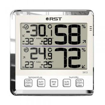 """Цифровой термогигрометр RST 02413 с большим дисплеем, дом/улица, цвет """"слоновая кость"""""""