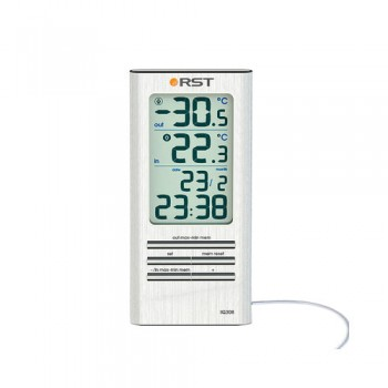 Цифровой термометр RST 02308 дом/улица, часы , серебристый корпус