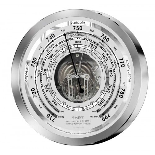 Барометр металлический с открытым механизмом RST 07851, цвет серебро