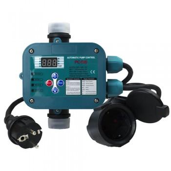"""Регулятор давления электронный РС-58, кабель 1,3м+розетка (до 1.1кВт, 10А, старт 0.5-6 бар, max 10бар, 0-80°C, d вх./вых.отв. 1"""")"""