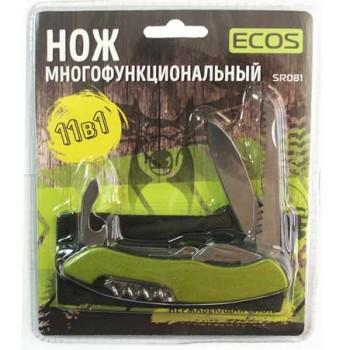 Нож складной многофункциональный Ecos SR081 11 в 1, нержавеющая сталь, блистер, зеленый, (325129)