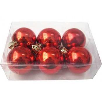 Шарики новогодние IRIT ING-033A глянцевые 6см (6 шт в коробке) цв.красный