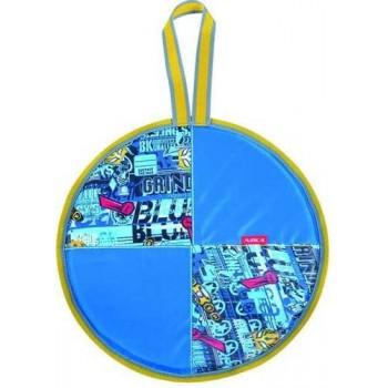 Ледянка мягкая круглая Л40 (трансформер голубой, диаметр 40см, низ-автотент, верх-ткань Оксфорд, наполнитель-поролон)