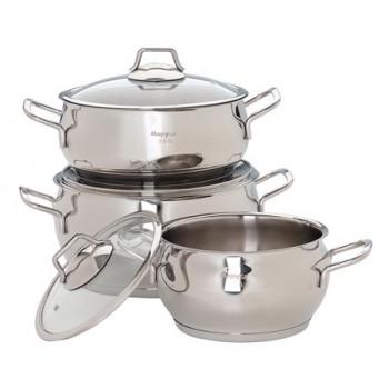 Набор посуды Маруся 2002с нержавеющая сталь 6 предметов (2.0л,3.0л,4.5л) сферич.форма