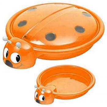 Песочница-бассейн Божья коровка Пл-С203 (с крышкой и сливным отверстием, цвет - оранжевый)