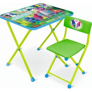 Комплект Ника Dreamworks Trolls (для 1,5-3 лет) тема Trolls T-2 (складные: стол с пеналом + мягкий легкомоющийся стул)