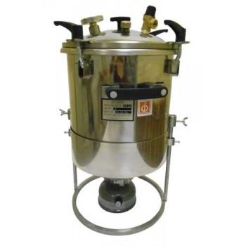 Домашний автоклав для консервирования ПОХОДНЫЙ НЕРЖ на 22л (нагрев на газу) со стрелочным термометром