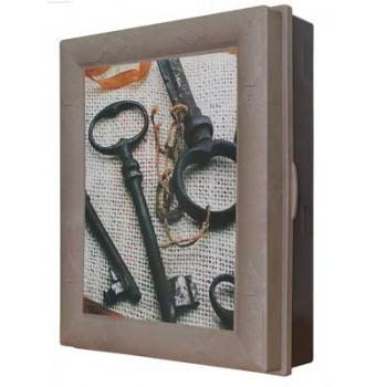 Ключница настенная пластиковая КЛАССИКА (Старинные ключи, коричневая)