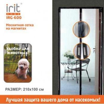 Противомоскитная сетка Irit IRG-600 100х210 см, 12 магнитов, цв. черный