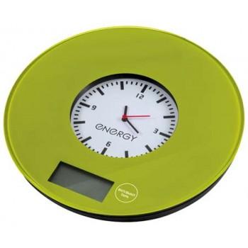 Energy EN-427 Электронные кухонные весы 7кг/1г (зеленые с часами)