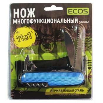 Нож складной многофункциональный Ecos SR082 11 в 1, нержавеющая сталь, блистер, синий, (325130)