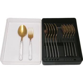 Набор столовых приборов АМЕТ для детей Узоры 1с263 (12 предметов на 6 персон, покрытие под золото, нержавеющая сталь)