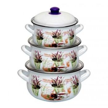 Набор посуды Маруся 222 6 предметов (2.0л,3.0л,4.0л) эмаль с декором Лаванда