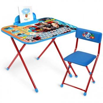Комплект Ника Marvel 5 Д5А (для 3-7 лет) тема Мстители.Thora Азбука (складные: стол с пеналом + мягкий легкомоющийся стул)