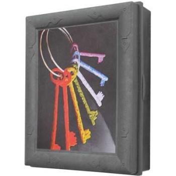 Ключница настенная пластиковая МОДЕРН (Цветные ключи, серая)