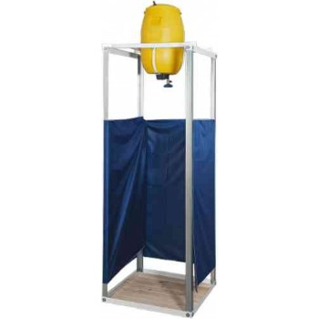 Душ дачный Бодрость (Leto H) с подогревом (пластик, 60л, 1.25 кВт) и душевой кабиной