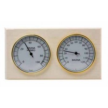 Термогигрометр для сауны Банная Станция СББ ( биметаллический термометр+гигрометр) основание - дерево