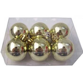 Шарики новогодние IRIT ING-033C глянцевые 6см (6 шт в коробке) цв.желтый