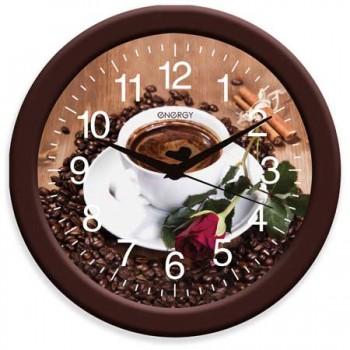 Часы настенные кварцевые Energy EC-101 круглые (27.5*3.8 см) кофе (009474)