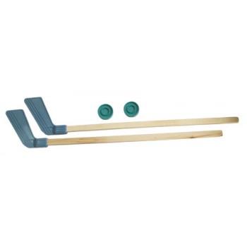 Набор для игры в хоккей с шайбой: 2 клюшки + 2 шайбы (дерево, пластик, уп-ка европодвес)