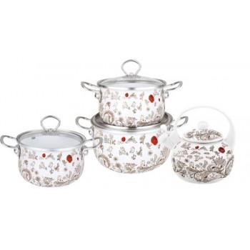 Набор посуды Kelli KL-4443 7 предметов эмаль с декором (2,3 л,3,0 л, 6,8 л + чайник 2,5 л))