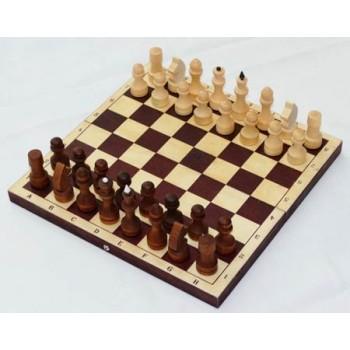 Шахматы деревянные Обиходные парафинированные Р-12 в комплекте с тёмной доской