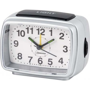 Настольные часы-будильник Homestar HC-04 прямоугольный, белый циферблат (003797)