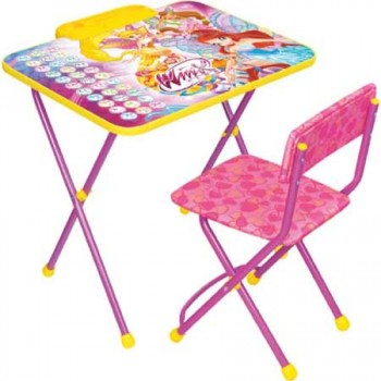 Комплект Ника Winx В2А (для 3-7 лет) тема Винкс Азбука (складные: стол с пеналом + мягкий легкомоющийся стул)