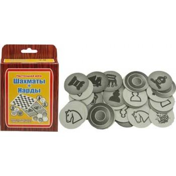 Игра настольная ШАХМАТЫ, ШАШКИ И НАРДЫ (картонные фишки-фигуры) пр-во Задира-плюс