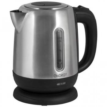 Energy E-228 чайник электрический дисковый, 1.2л, 1370-1630Вт, нержавеющая сталь, шкала уровня воды