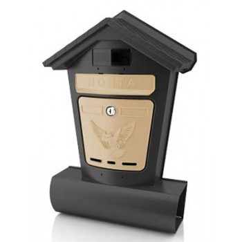 Ящик почтовый Элит (чёрный с бежевым) с замком и 2-мя ключами (пластик, 348х502х107мм)