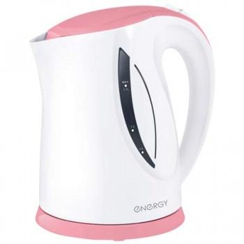 Energy E-227 чайник электрический дисковый, 1.7л, 1850-2200Вт, пластиковый, шкала уровня воды, бело-коралловый