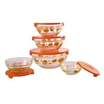 Набор стеклянных салатников с крышками Irit GLSA-5-001 (5 штук)