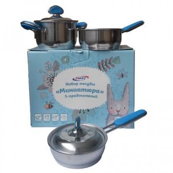 Набор посуды Амет Миниатюра 1с2641 (5 предметов, нержавеющая сталь, металлич.крышки, дно с ТРС-3)