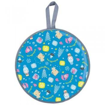 Ледянка мягкая круглая Л45 (зима голубой, диаметр 45см, низ-автотент, верх-ткань Оксфорд, наполнитель-поролон)