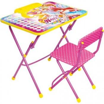 Комплект Ника Winx В3А (для 3-7 лет) тема Винкс Азбука (складные: стол с пеналом и подножкой + мягкий стул флок)