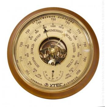 Барометр Утес БТК-СН-16 шлифованное золото с термометром (корпус-дерево, диам.210/160мм, откр.механизм)