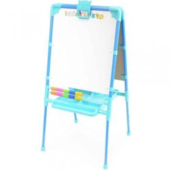 Мольберт детский двусторонний Ника М2/Г Растущий (цвет каркаса - Голубой) с большим пеналом, магнитной азбукой и мозаикой
