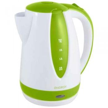 Energy E-229 чайник электрический дисковый, 1.8л, 1500Вт, пластиковый, шкала уровня воды, бело-зеленый
