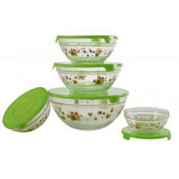 Набор стеклянных салатников с крышками Irit GLSA-5-002 (5 штук)