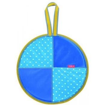 Ледянка мягкая круглая Л36 (горошек голубой, диаметр 36см, низ-автотент, верх-ткань Оксфорд, наполнитель-поролон)