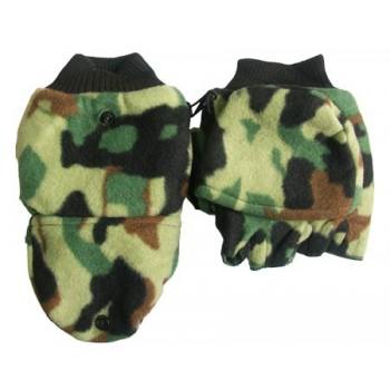 Перчатки для рыбалки № 14 (осень) камуфлированные флисовые на кнопке