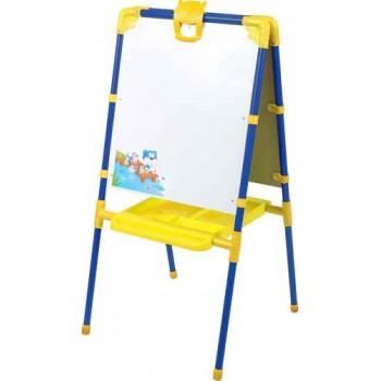 Мольберт детский двусторонний Ника М1 (цвет каркаса - Синий) с большим пеналом и магнитной азбукой.